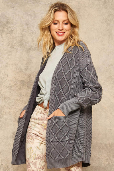 Dublin Rose Open-Front Cable Knit Cardigan with Pockets