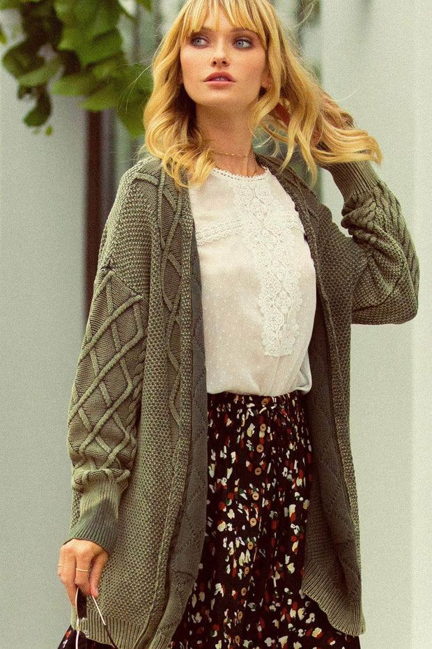 Dublin Rose Open-Front Cable Knit Cardigan with Pockets - ShopPromesa