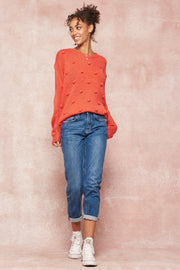 Three Cheers Pom-Pom Knit Loose-Fit Sweater