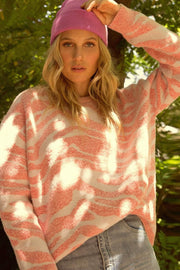Jungle Girl Pink Zebra Textured Sweater - ShopPromesa