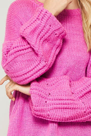 Any Which Wave Wavy Knit Bubble-Sleeve Sweater - ShopPromesa