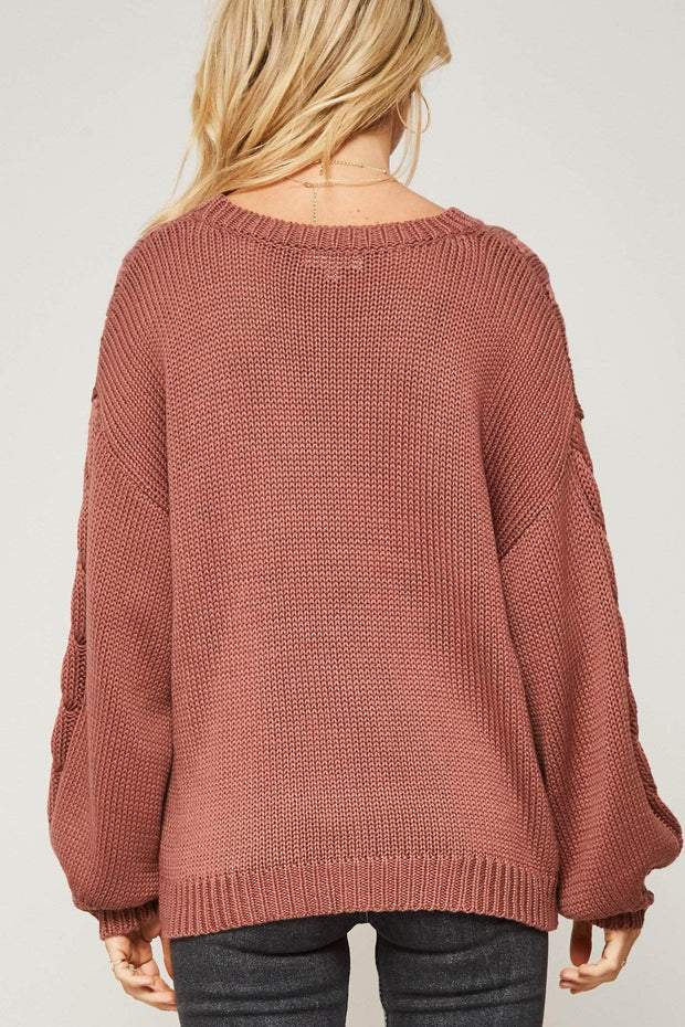 Hurry Up and Plait Cable Knit Sweater - ShopPromesa