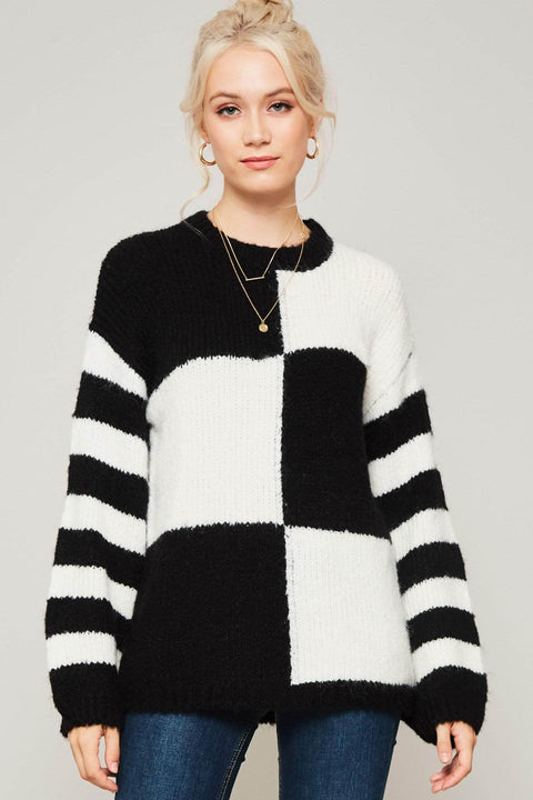 Checkmate Striped Sleeve Colorblock Sweater - ShopPromesa