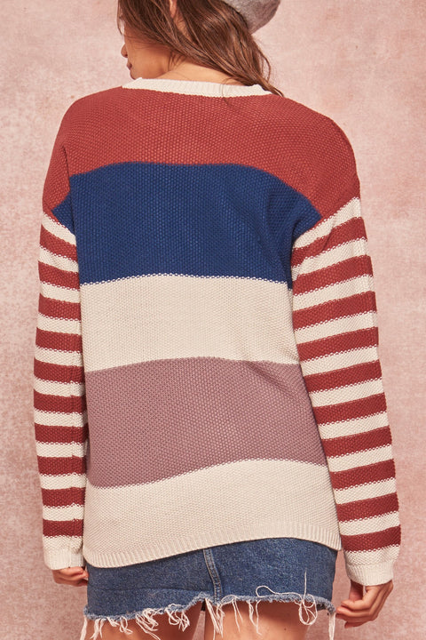 Wherever You Go Colorblock Striped Sweater