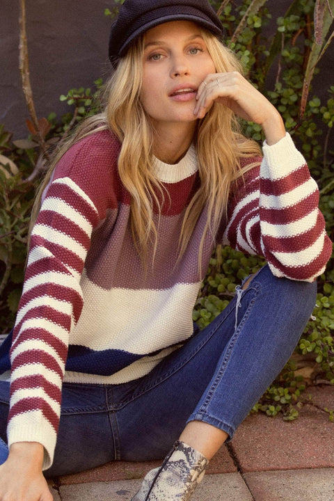 Wherever You Go Colorblock Striped Sweater - ShopPromesa