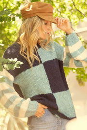 Square Deal Striped Sleeve Colorblock Sweater - ShopPromesa