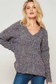 Color Pop Multicolor Popcorn Knit Sweater - ShopPromesa