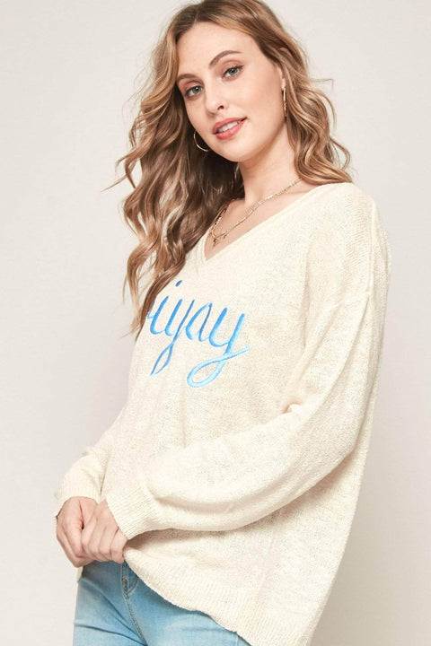 Friyay Embroidered Graphic Sweater - ShopPromesa