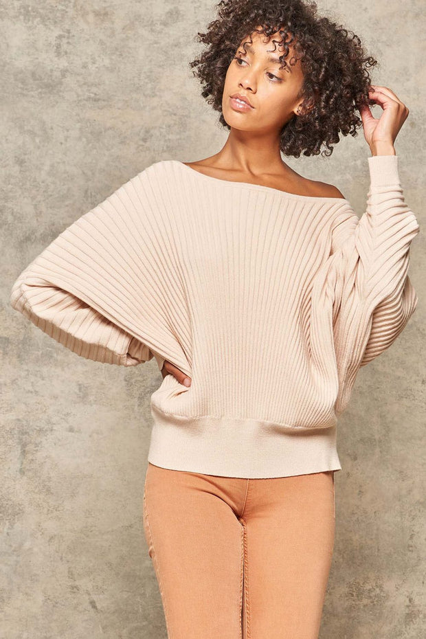 Love Groove Rib-Knit Boatneck Dolman Sweater