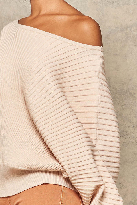 Love Groove Rib-Knit Boatneck Dolman Sweater - ShopPromesa