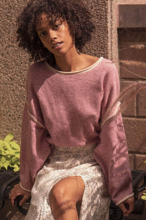 Quiet Storm Exposed-Seam Cropped Sweater - ShopPromesa