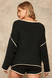 Dream Big Oversized Exposed-Seam Pocket Sweater - ShopPromesa