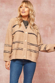 Taking Notes Striped Button-Front Cardigan - ShopPromesa