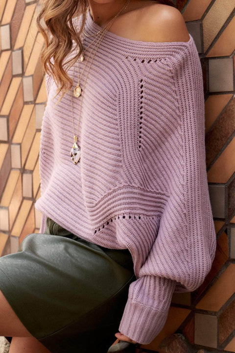 Line of Beauty Rib-Knit Boatneck Dolman Sweater - ShopPromesa