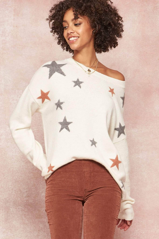Starry Eyed Multicolor Star-Pattern Sweater - ShopPromesa