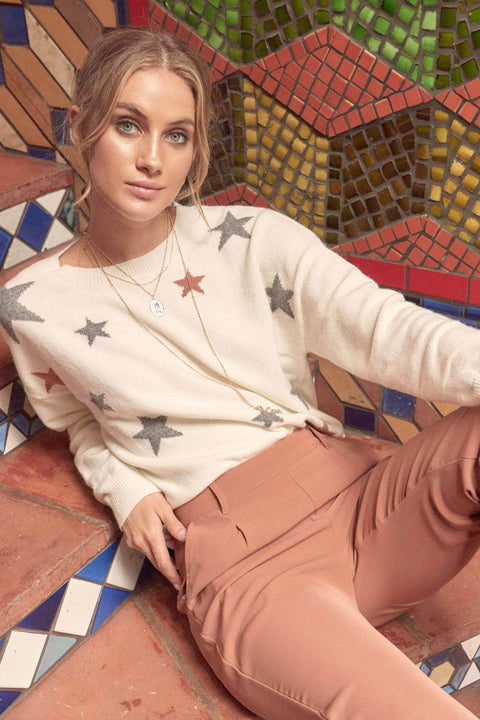 Starry Eyed Multicolor Star-Pattern Sweater