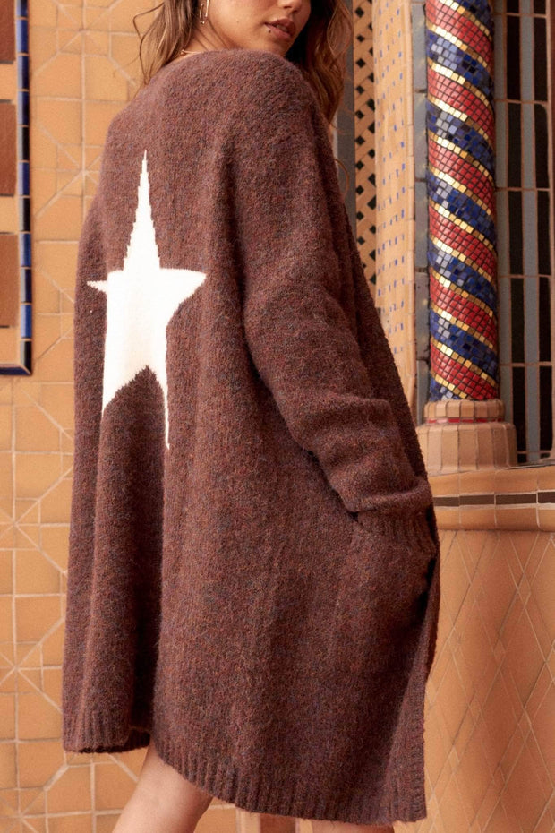 Star Power Fuzzy Knit Graphic Cardigan - ShopPromesa