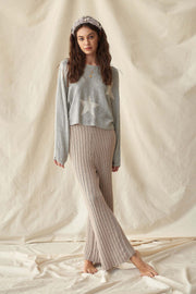 Easy to Please Rib-Knit Wide-Leg Sweater Pants
