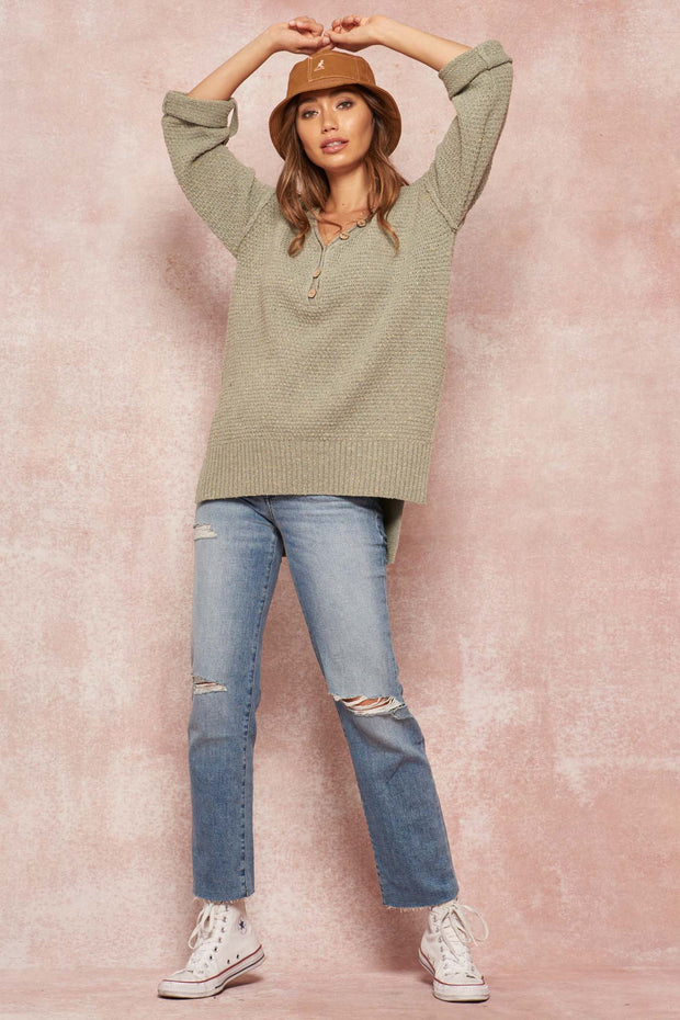 Home Free Roll-Up Confetti Henley Sweater - ShopPromesa