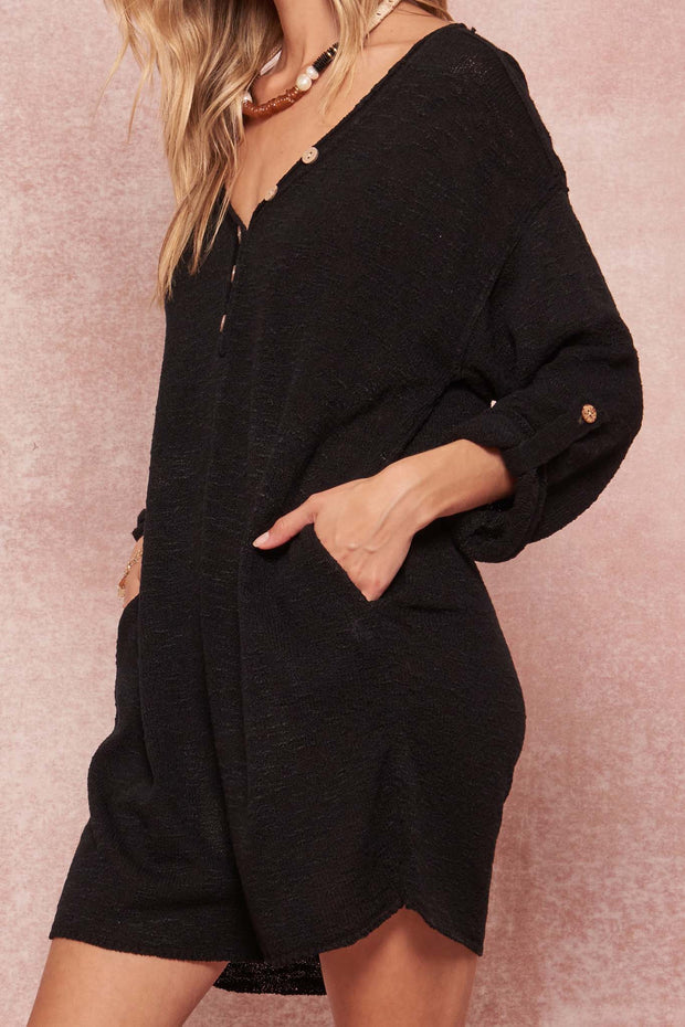 Just Breathe Roll-Up Henley Sweater Romper - ShopPromesa