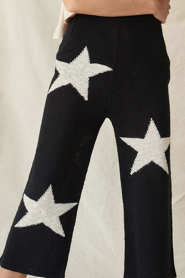 Cosmic Kid Star-Pattern Cropped Sweater Pants - ShopPromesa