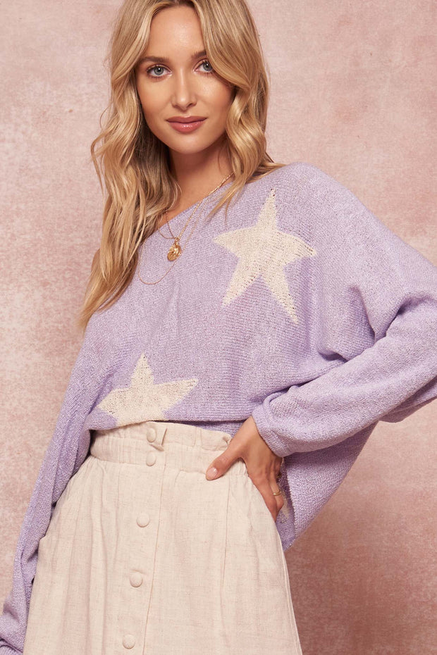 Supernova Star-Pattern Oversized Graphic Sweater