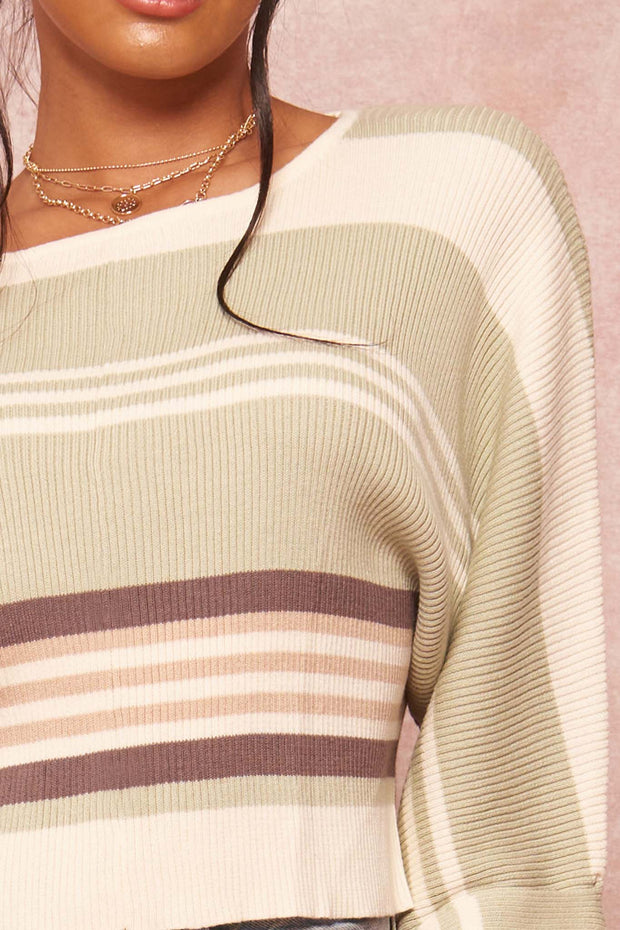 Borderline Striped Rib-Knit Cropped Sweater - ShopPromesa