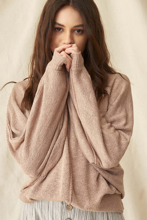 Body and Soul Exposed-Seam Dolman Sweater - ShopPromesa