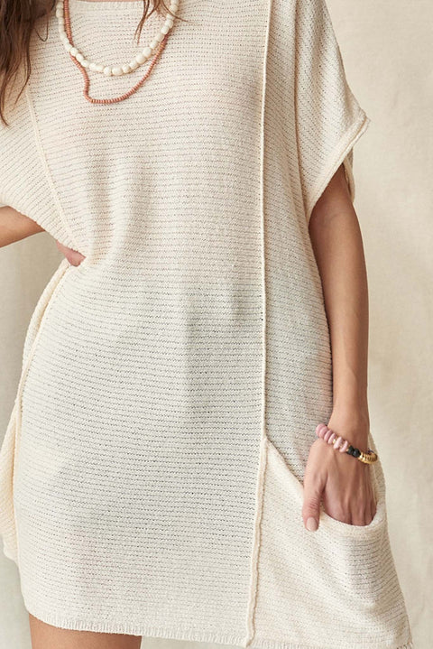 Sweet Serenity Rib-Knit Tunic Pocket Sweater - ShopPromesa