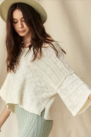 Loosen Up Textured Stripe Cropped Sweater - ShopPromesa