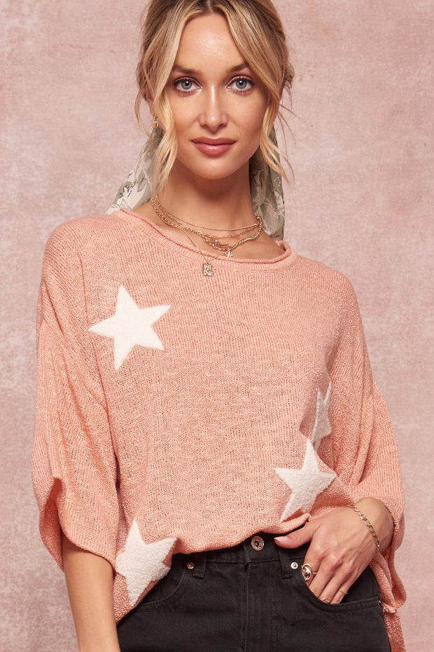 Star Chaser Chenille Applique Graphic Sweater - ShopPromesa