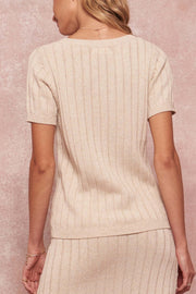 Simply Sweet Rib-Knit Short-Sleeve Henley Sweater - ShopPromesa