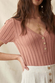 Simply Sweet Short-Sleeve Ribbed Henley Sweater - ShopPromesa