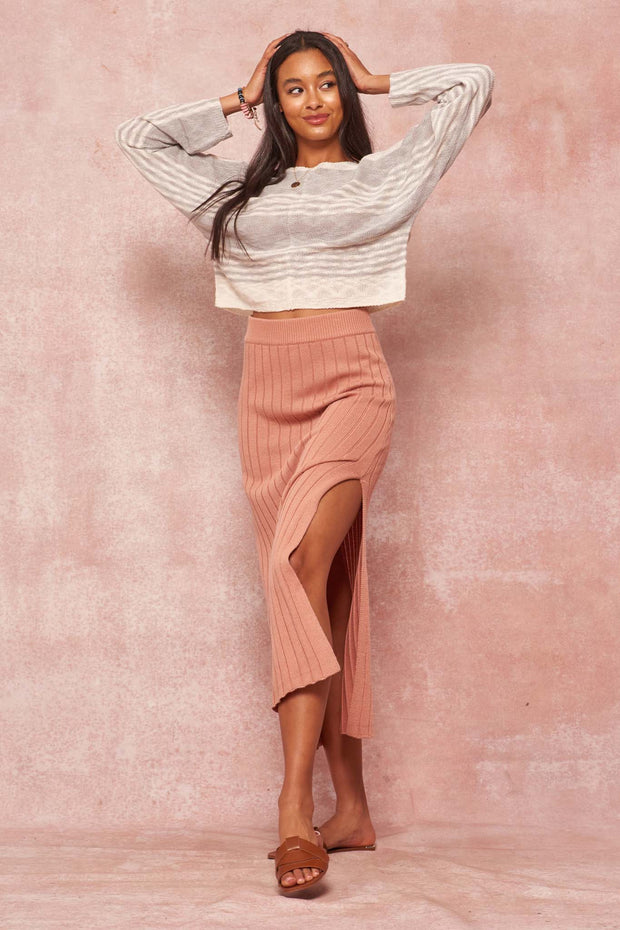 Sweet Simplicity Rib-Knit Midi Sweater Skirt - ShopPromesa