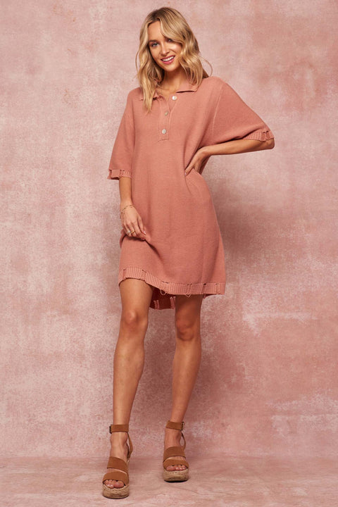 Prep Rally Distressed Polo-Collar Mini Dress - ShopPromesa
