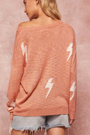 Strike Twice Thunderbolt-Pattern Graphic Sweater - ShopPromesa