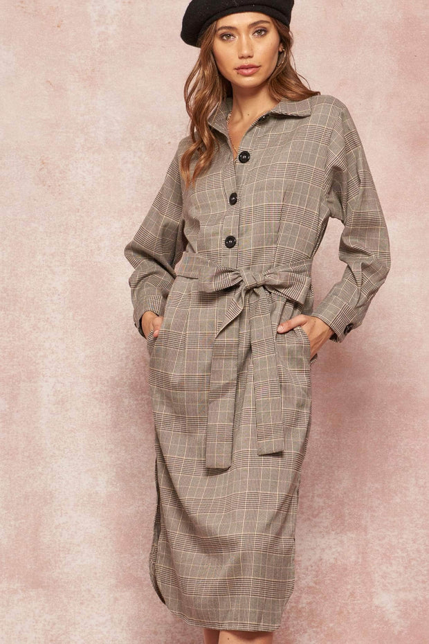 Casa Blanca Belted Plaid Trench Shirt Dress - ShopPromesa