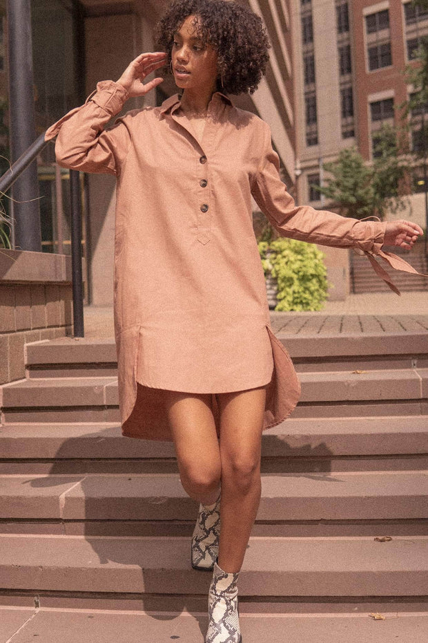 Cuffing Season Tie-Cuff Henley Shirt Dress - ShopPromesa