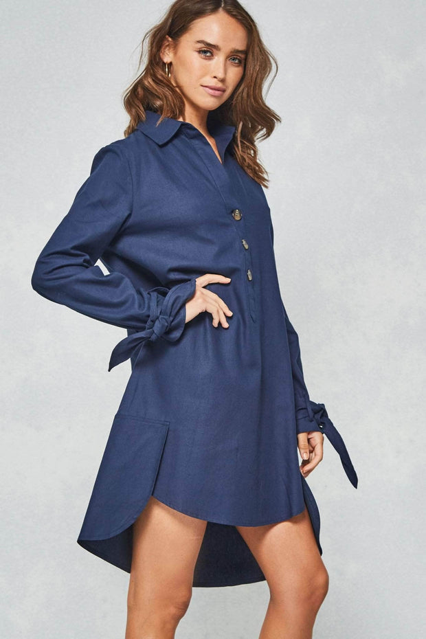Cuffing Season Tied-Cuff Henley Shirt Dress - ShopPromesa