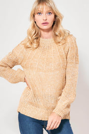 Midnight Sun Heathered Cable Knit Sweater - ShopPromesa
