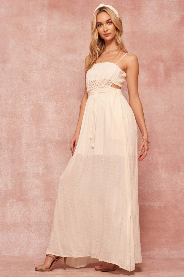 Free Spirit Lace and Swiss Dot Maxi Dress - ShopPromesa