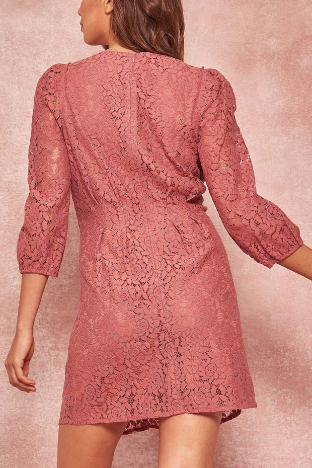 Rare Beauty Button-Trimmed Lace Mini Dress