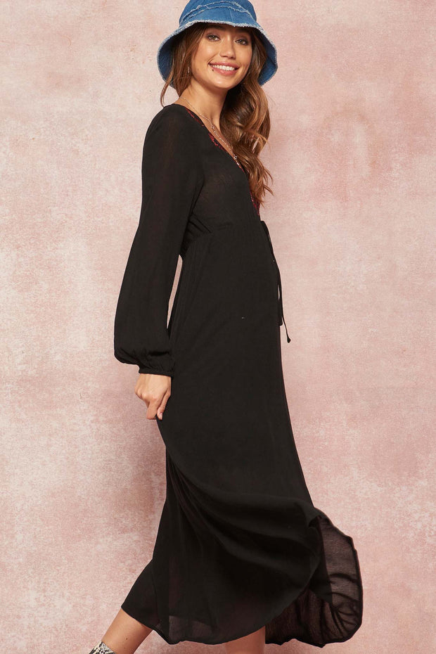 Case of You Embroidered Midi Peasant Dress