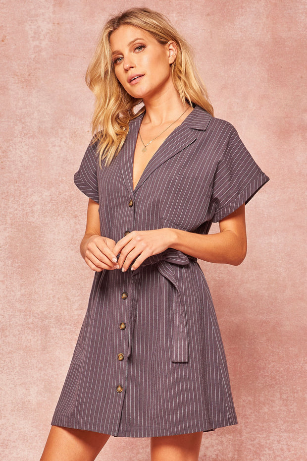 Adventure Capital Pinstripe Belted Mini Shirt Dress