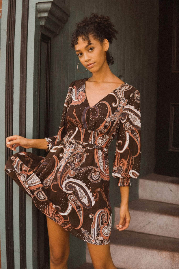 Spin Me Around Smocked Paisley Mini Dress - ShopPromesa