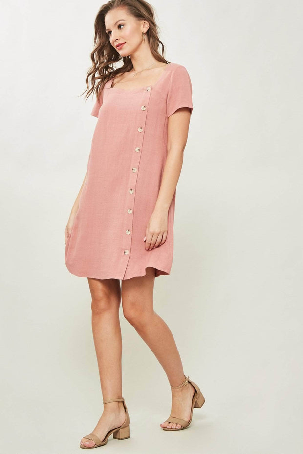 Act Natural Side-Button Mini Shift Dress - ShopPromesa