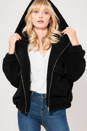 Fluff-n-Stuff Faux Shearling Hooded Jacket - ShopPromesa