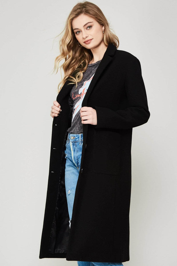 Femme Fatale Wool-Blend Button-Front Overcoat