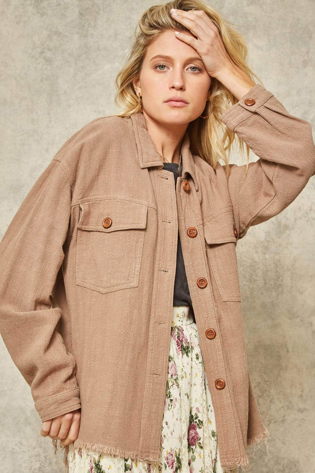 Against the Grain Frayed-Hem Button-Down Shirt Jacket