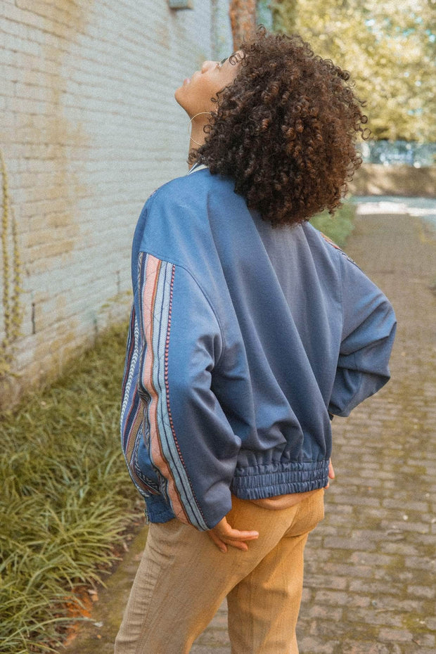 Bases Loaded Geo-Stripe Quilted Baseball Jacket - ShopPromesa